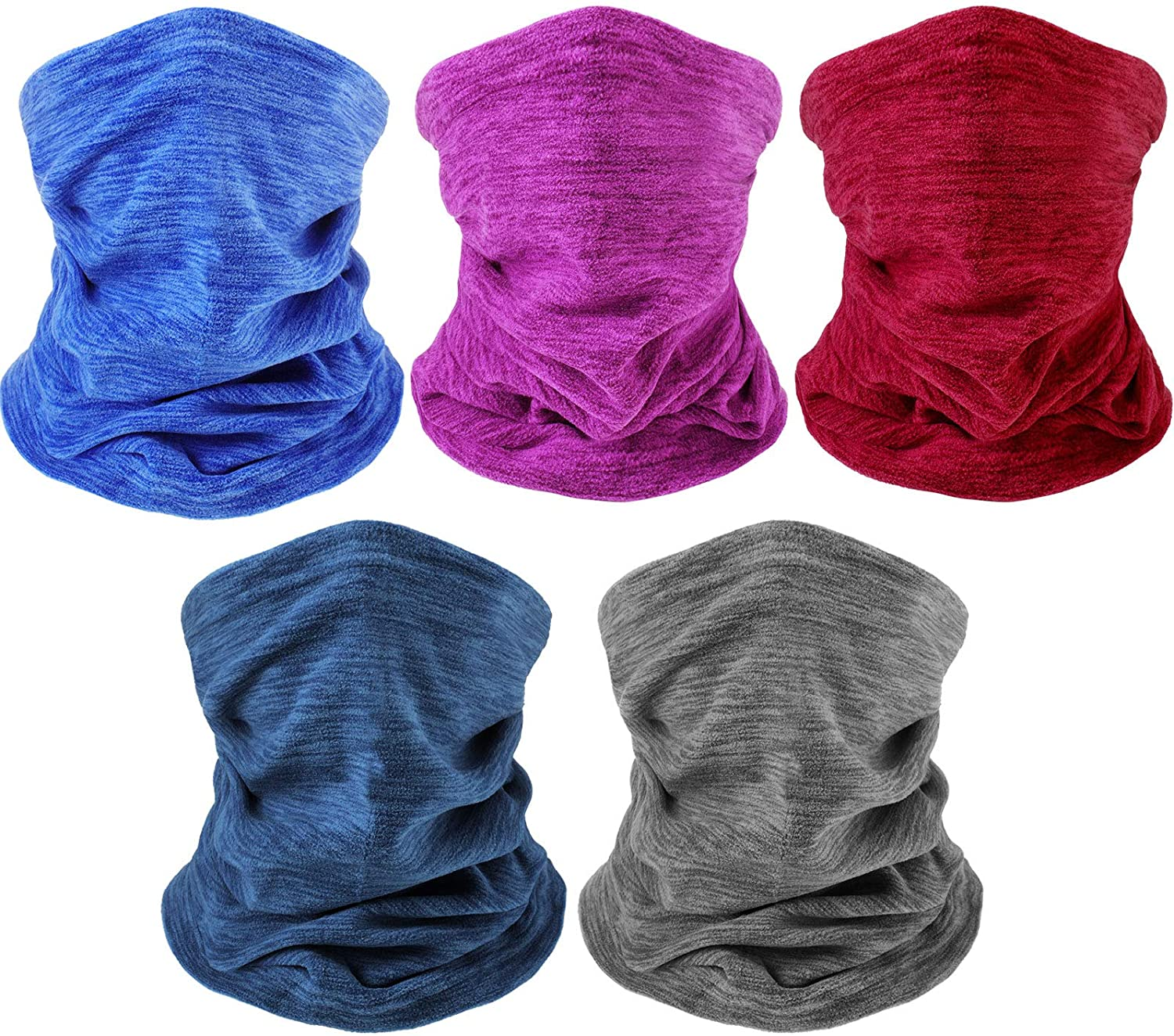 5 Pieces Winter Neck Gaiter Warmer Polar Fleece Neck Gaiter Sleeve Face Scarf Windproof Neck Warmer with Adjustable Drawstring for Men Women Hiking Cycling Fishing