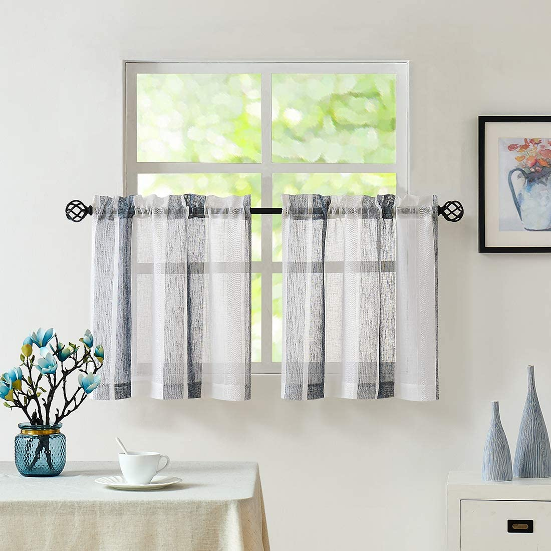 Central Park Navy Blue and White Kitchen Window Curtain Tiers Vertical Stripe Sheer Boucle Linen Window Curtain, Living Room Decorative Rod Pocket Rustic Living 2 Panels (28