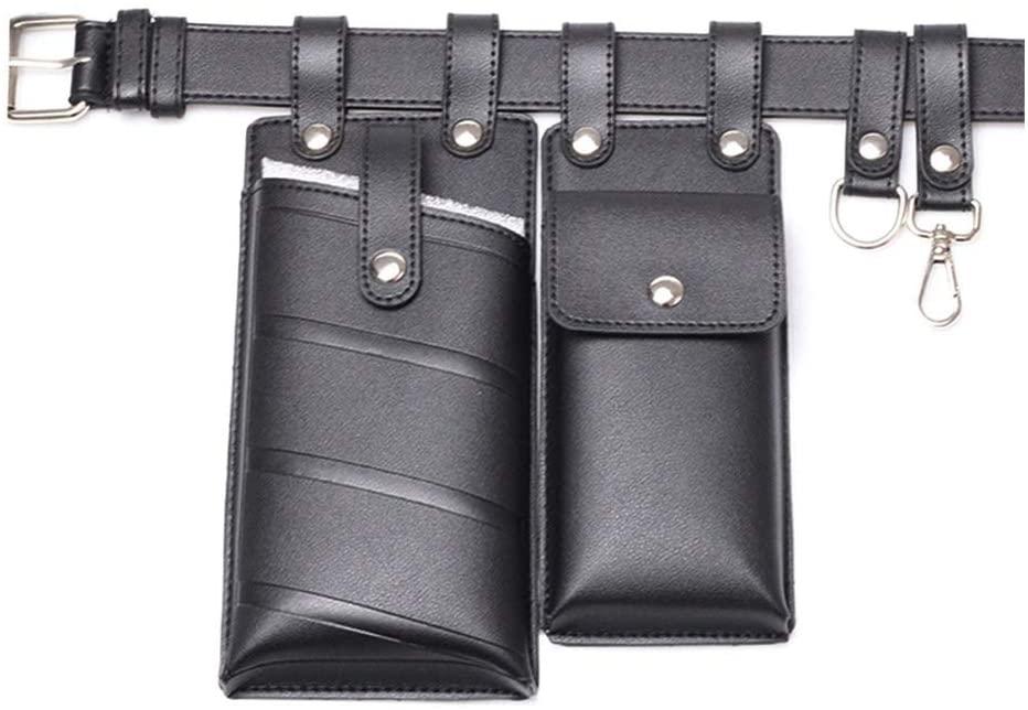 QINREN Women PU Leather Waist Fanny Pack Belt Bag Travel Hip Bum Chest Small Phone Pouc,Black,PU Leather