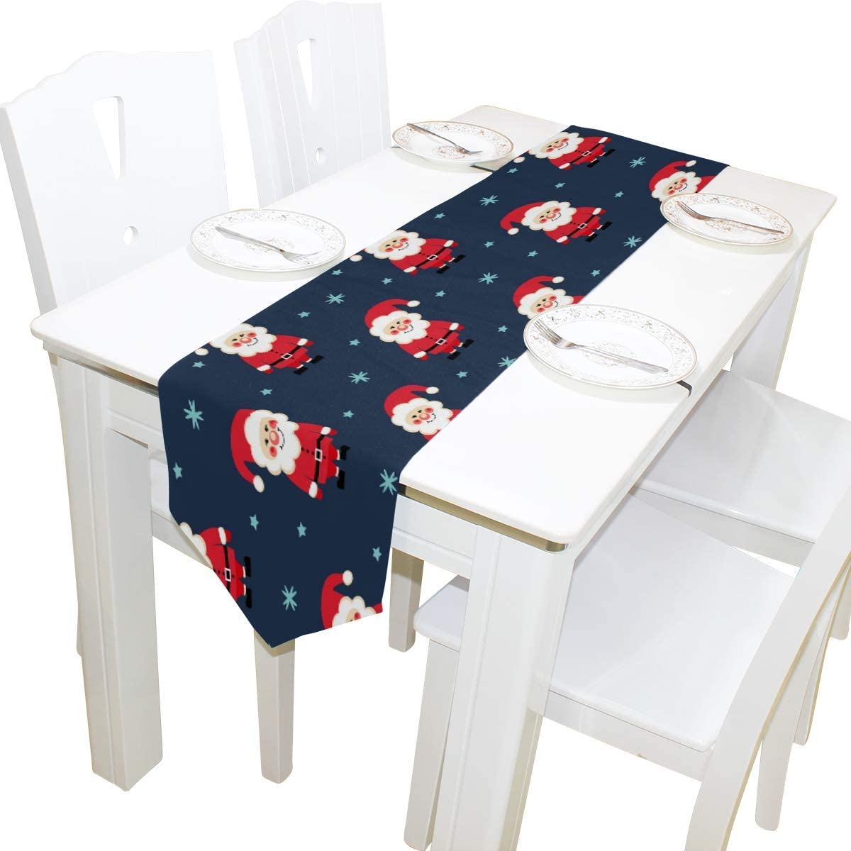 ALAZA Table Runner Home Decor,Merry Christmas Navy Blue Cute Santa Claus Polyester Table Runner Placemat for Wedding Party Coffee Table Mat Decoration 13 x 90 inches