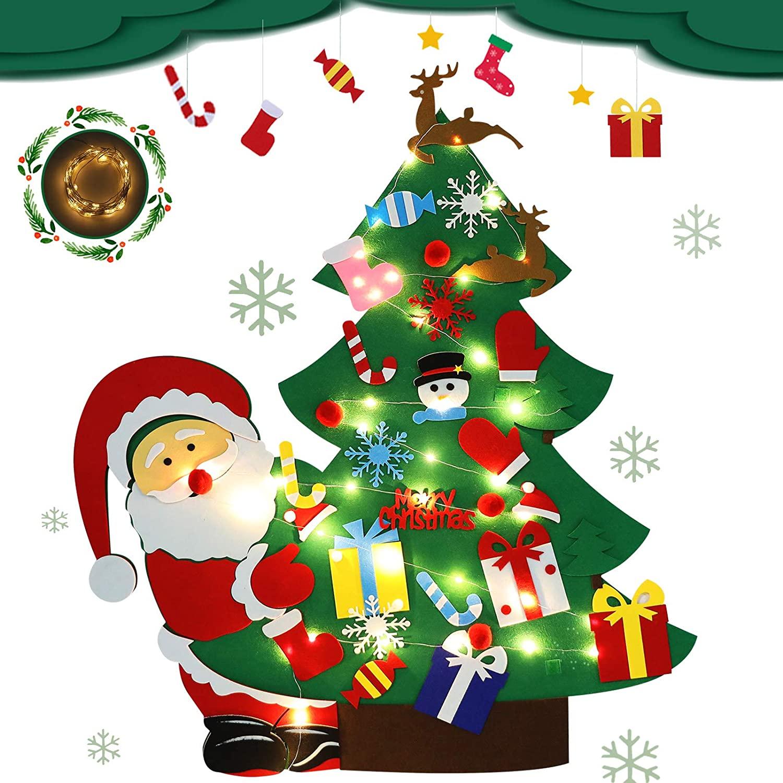 RVZHI DIY Felt Christmas Tree for Toddlers Felt Christmas Tree with Lights for Kids DIY Christmas Tree Set Wall Hanging 30pcs Detachable Ornaments,Santa Claus Decoration New Year Felt Christmas Tree