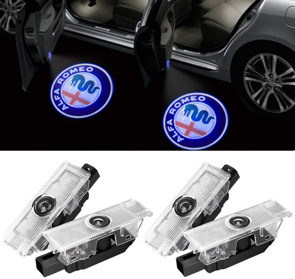 Car Door Light Welcome Projector Ghost Shadow Light For Alfa Romeo Stelvio Mito Giulietta Giulia Brera Spider (4 Pack)