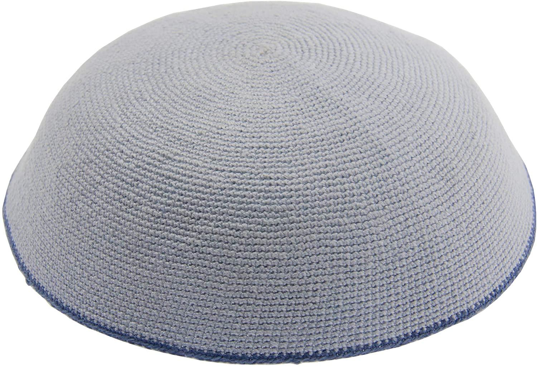 HolYudaica Hand Made 100% Cotton DMC Hand Knitted Kippah Hat from Israel, Hats for Men, Yarmulke Hat, Kippah for Men and Kids (Grey, 19cm-7.5inch-Flat)