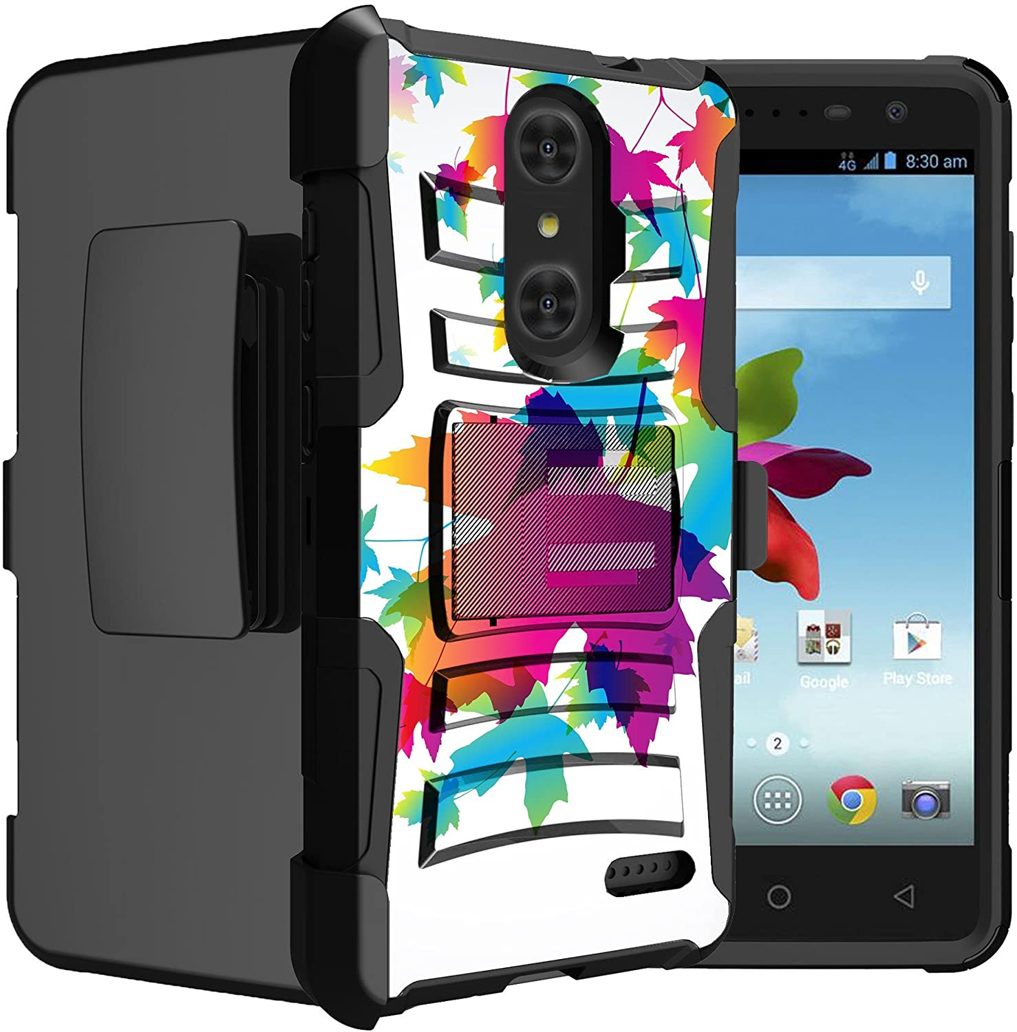 Untouchble Case for ZTE Zmax Pro, ZTE Blade X Max, ZTE Carry Case [Heavy Duty Clip] Shockproof Holster Case with Kickstand and Hybrid Case for Ultimate Protecton - Autumn Colors