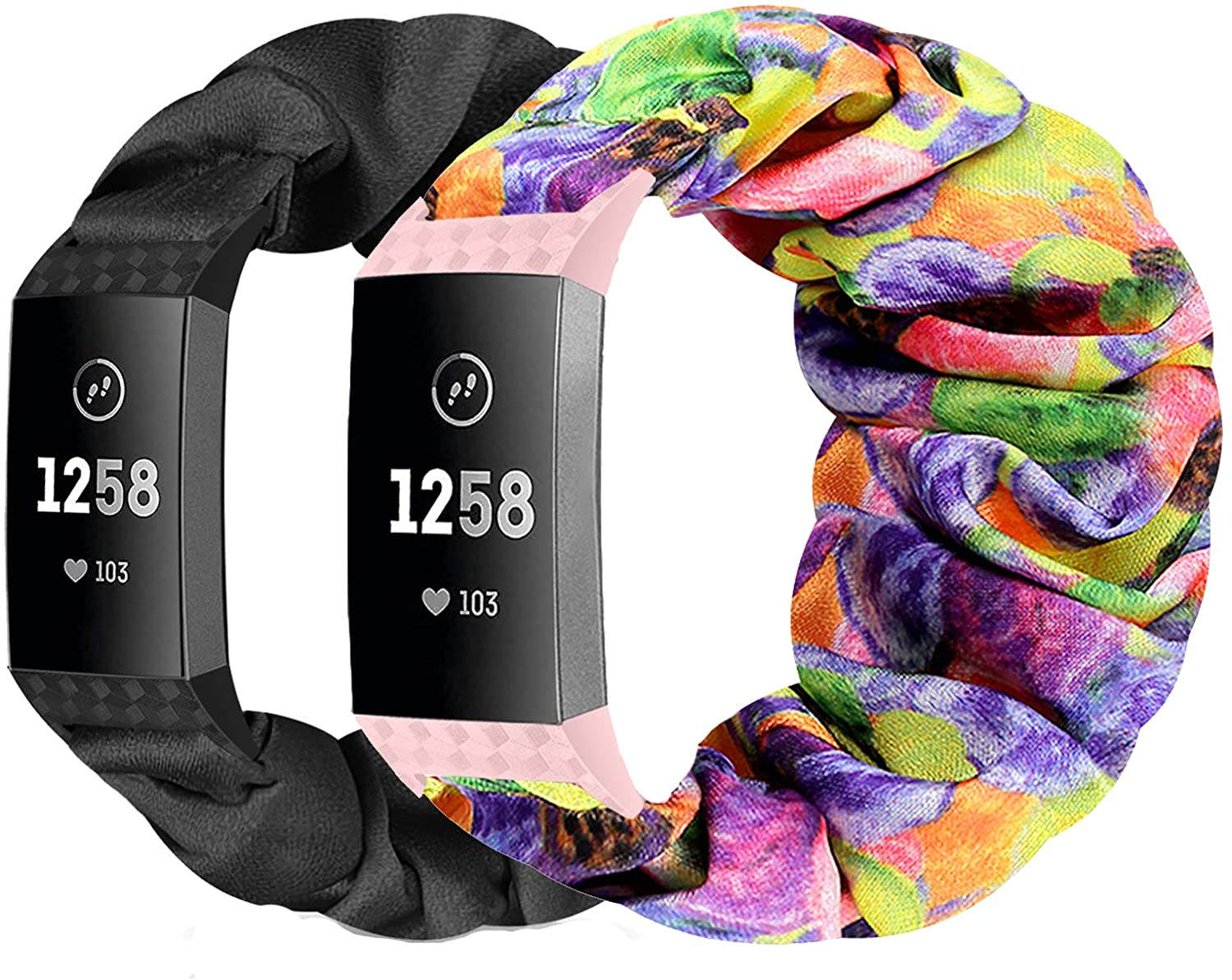 ShuYo Scrunchies Bands Compatible for Charge 3 Bands and Charge 4 Bands for Women Girls, Soft Elastic Fabric Replacement Accessory Strap for Charge 4/Charge 3 /Charge 3 SE