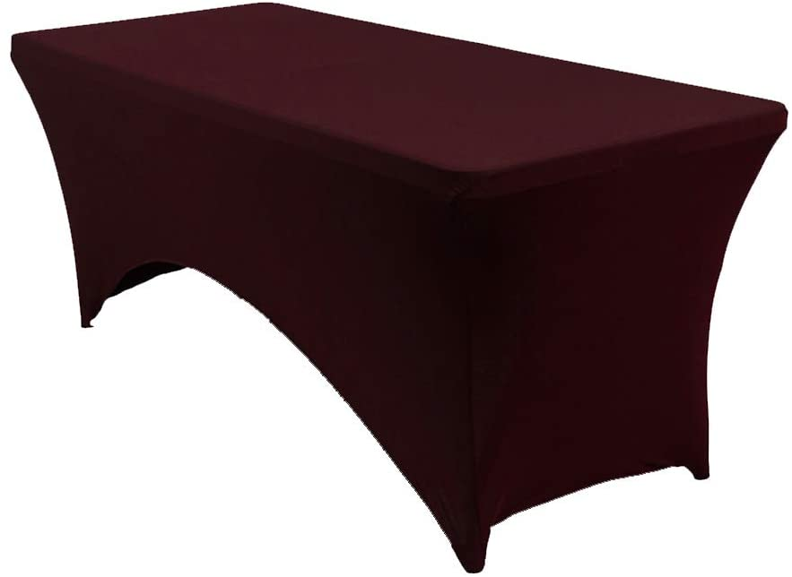 mds Pack of 15 Rectangular Stretch Spandex Table Cover 8ft Fitted Spandex Tablecloths for Wedding Decorations Table Toppers - Burgundy (8ft)