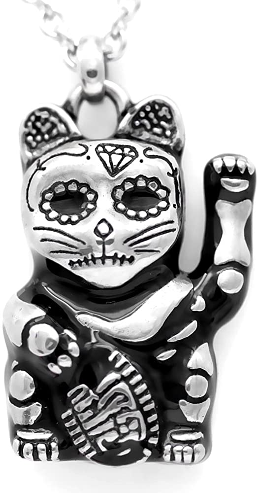 Controse Silver-Toned Stainless Steel Day of the Dead Maneki-neko Necklace (28