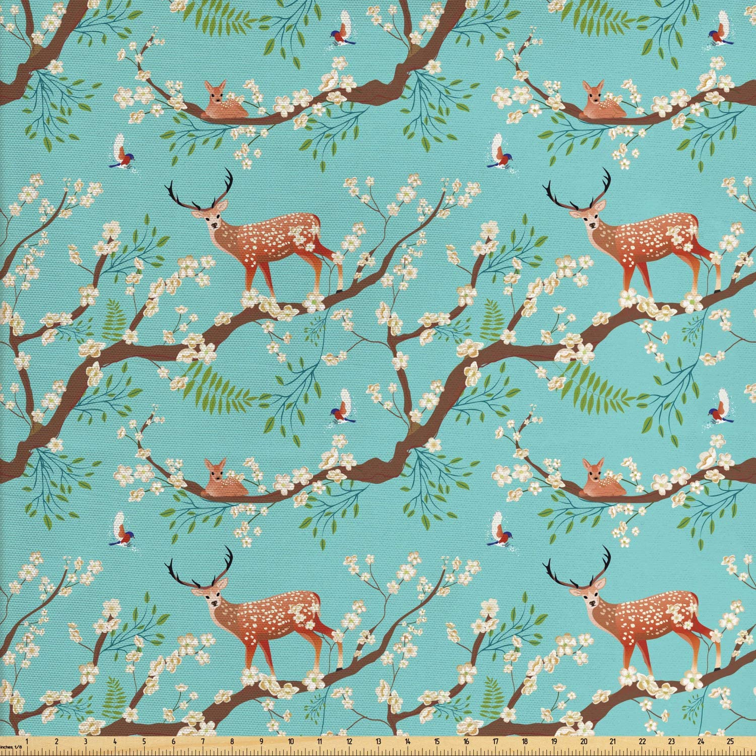 Ambesonne Forest Fabric by The Yard, Animal Bird Sika Deer Japanese Style Pattern Sakura Blossoms Garden Artwork, Decorative Fabric for Upholstery and Home Accents, 1 Yard, Seafoam and Umber