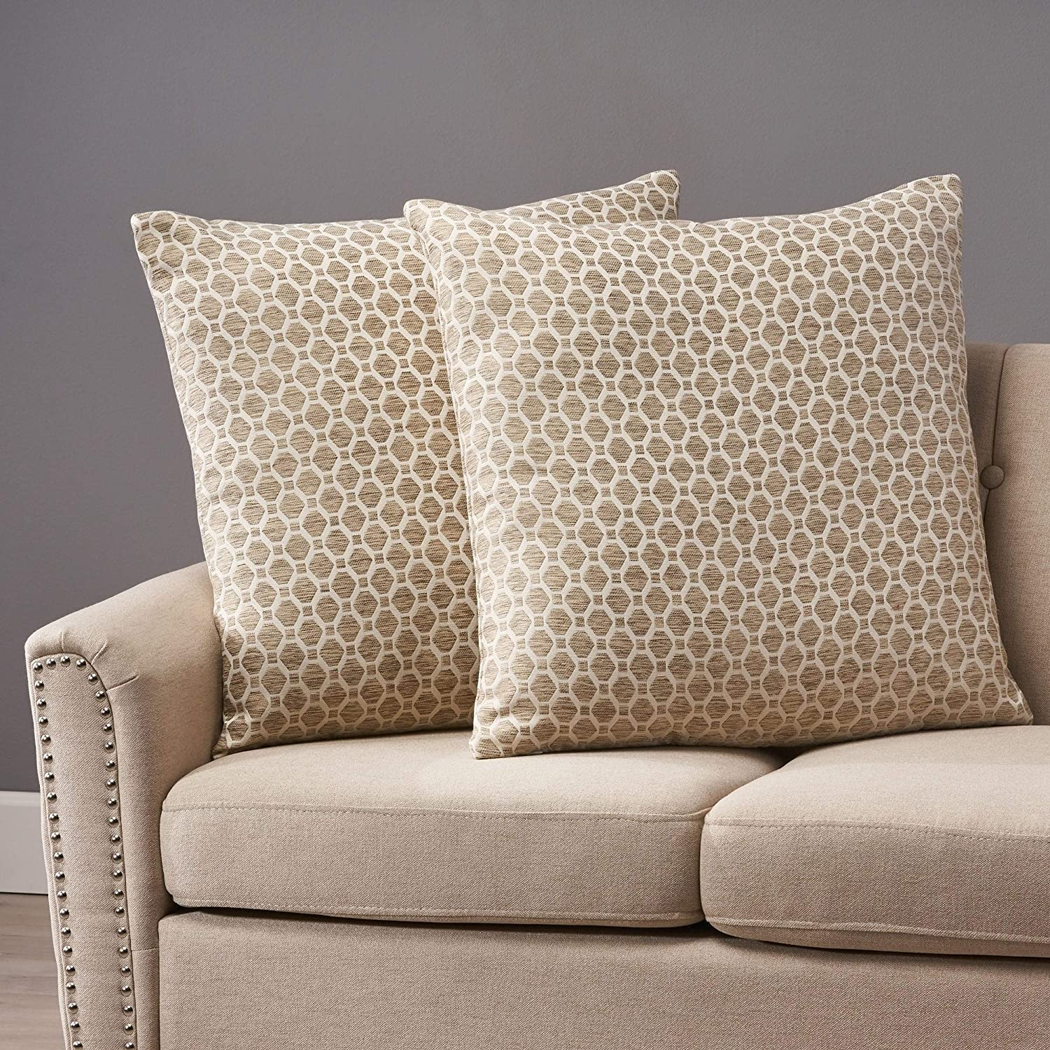 Modern Fabric Throw Pillows (Set of 2) by Beige Brown Geometric Contemporary Polyester Set of 2 Removable Cover