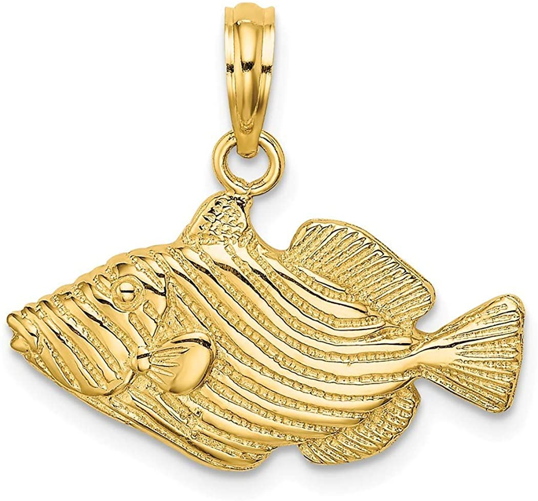 14k Gold Striped Animal Sealife Fish Engraved/2 d Charm Pendant Necklace Jewelry Gifts for Women