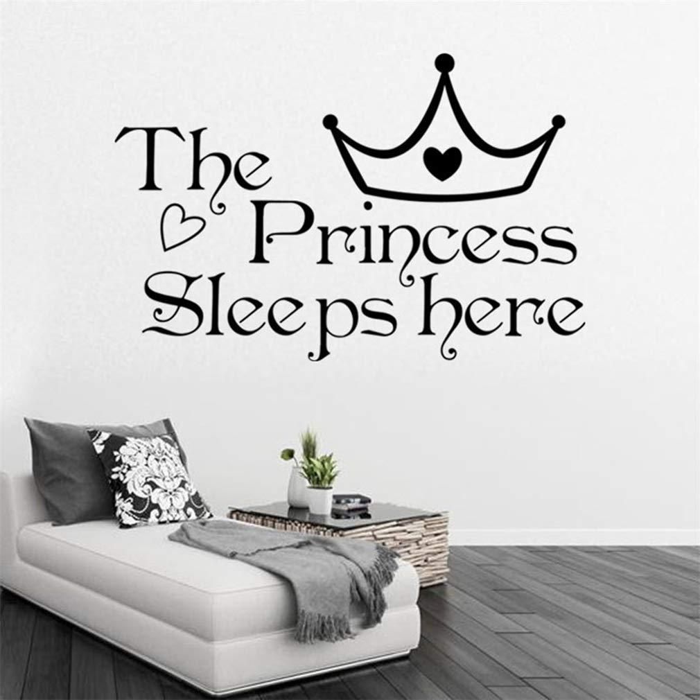 The Princess Sleeps Here WallDecals,VinylRemovablePVCStickersDecor forHomeBedroomLivingRoom Decoration 15.0×22.8 in