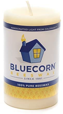 Bluecorn Beeswax 100% Pure Beeswax Pillar (2