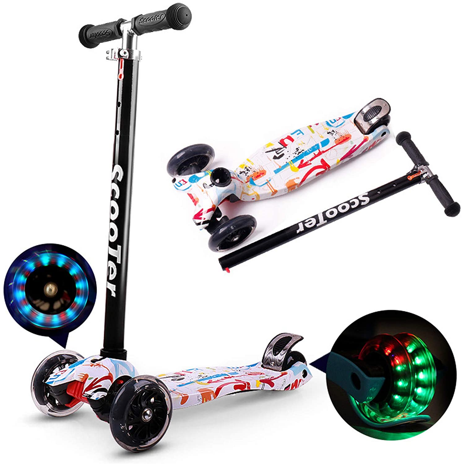 Lixada Foldable Scooter for Kids 3 Wheel Scooter with LED Light Up Wheels Kick Scooter for Toddlers 3-8 Year with Adjustable Height Lightweight Scooter