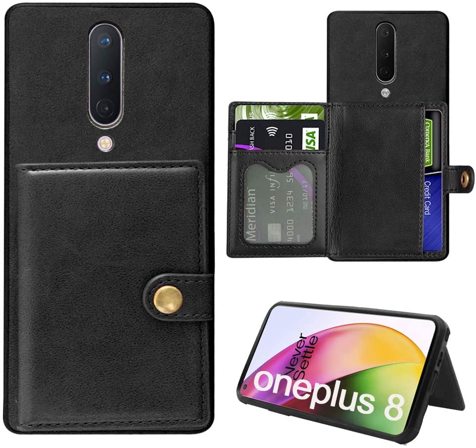 Oneplus 8 Wallet Case, PU Leather with ID Credit Card Slots Stand Kickstand [Wireless Charging Compatible] Magnetic Closure Shockproof Protective Cover Case for Oneplus 8 (Black)