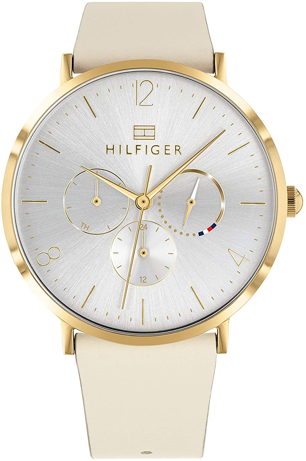 Tommy Hilfiger Women's Stainless Steel Quartz Watch with Leather Strap, Beige, 20 (Model: 1782035)