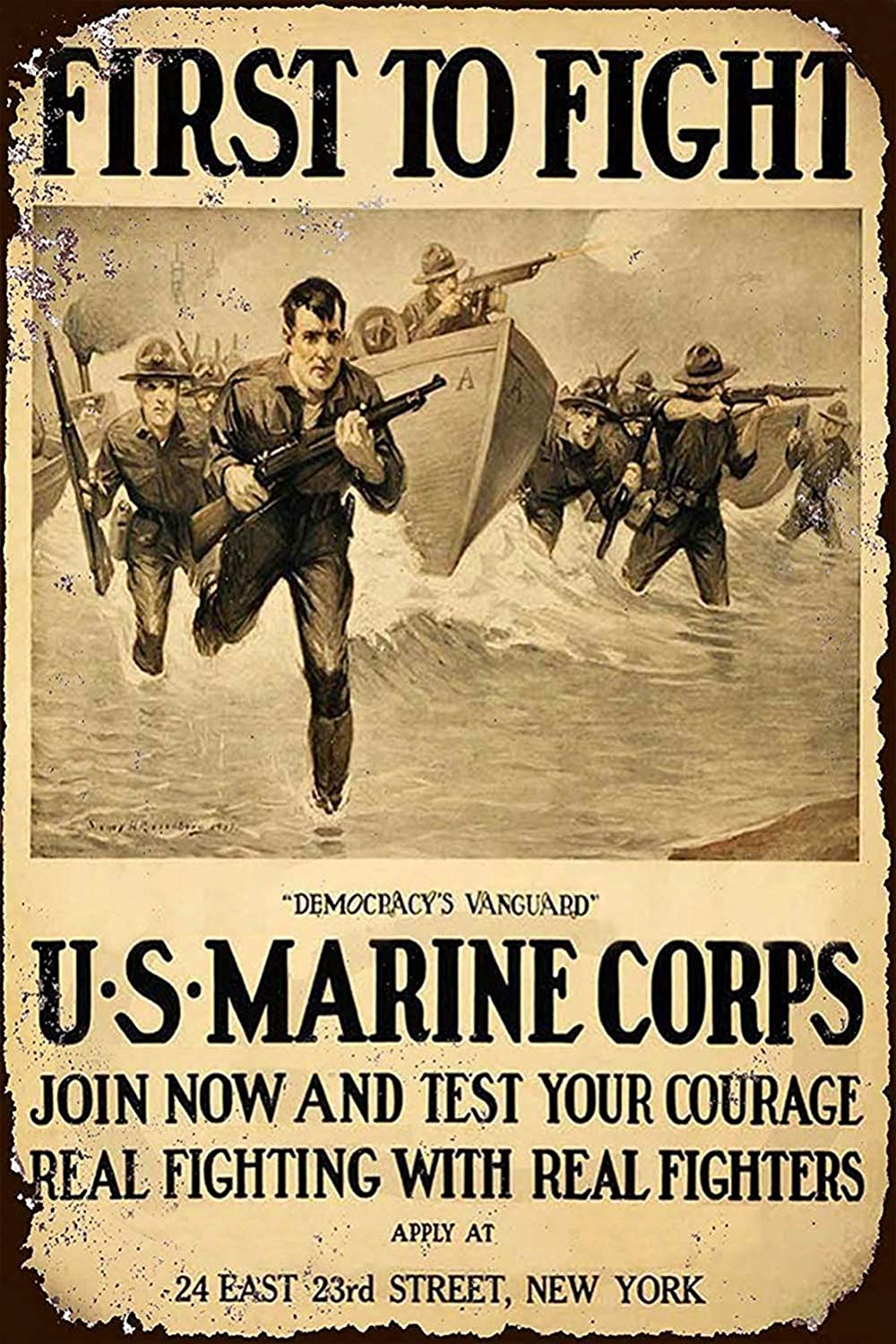 WEIMEILD New Tin Sign US Marine Corps First to Fight Vintage Look Aluminum Metal Sign 8x12 Inches (M4001)