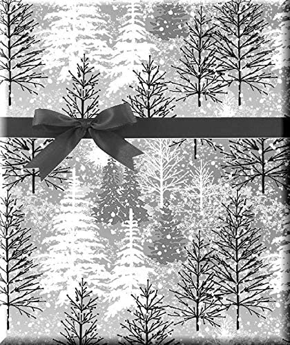 Mettalic Winter Snow Mountain Tree Black & White Holiday/Christmas Deluxe- Gift Wrap Wrapping Paper 12ftt Folded Sheetl with Gift Tags