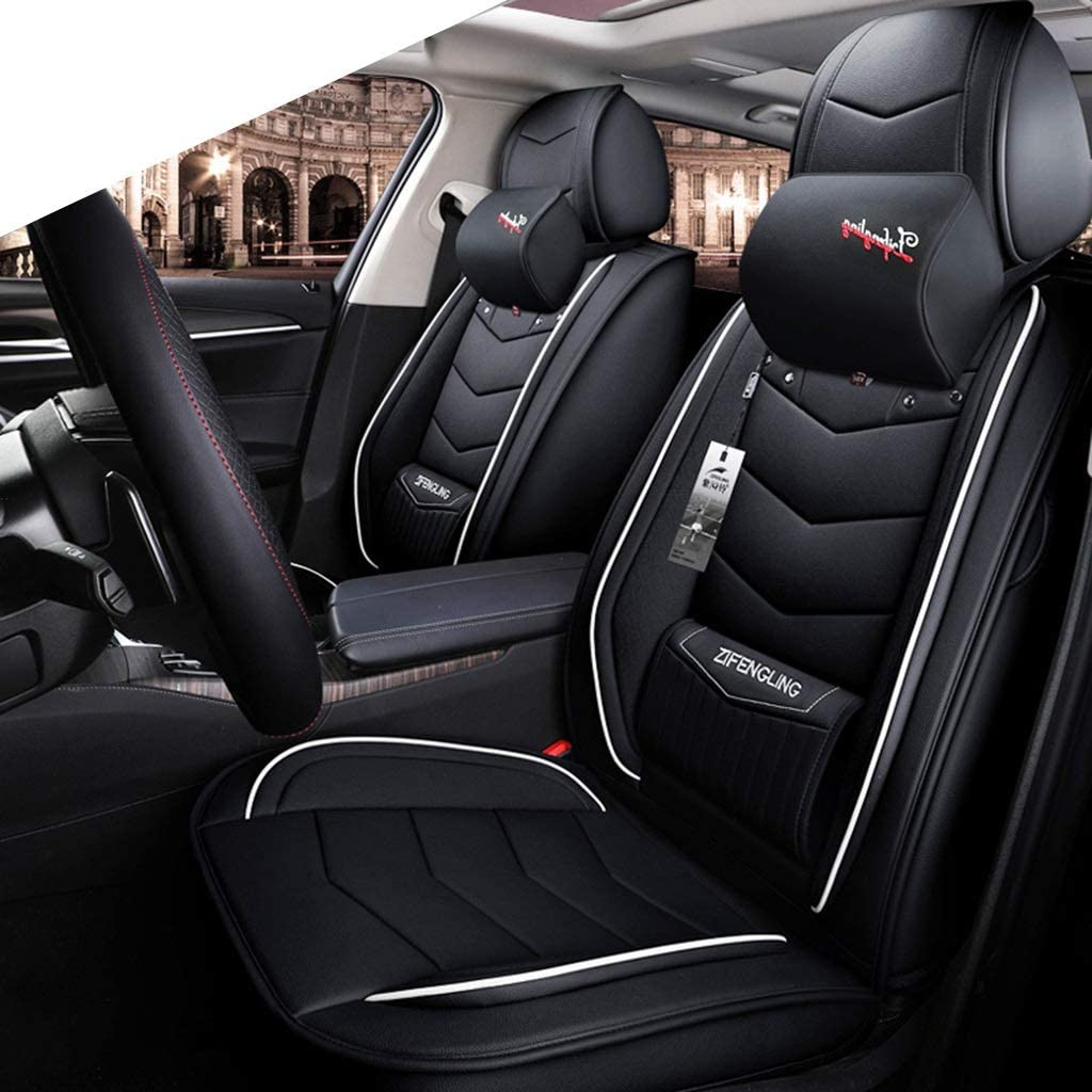 Makango Car seat Cushion Leather Car Seat Cover - Full Set, Fit 5 Seat Car - Year Round Use (Color : Black+White, Size : Luxury)