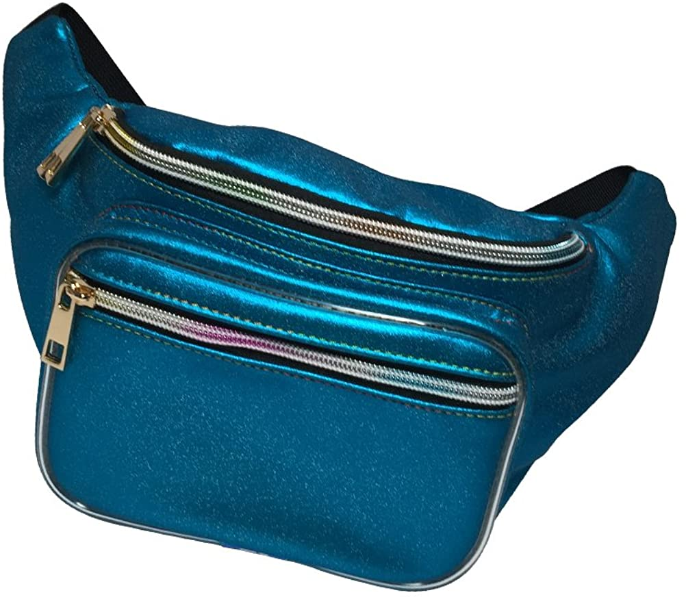 OULII Fanny Pack Holographic Waist Fanny Pack Bum Bag Hip Pack-Blue