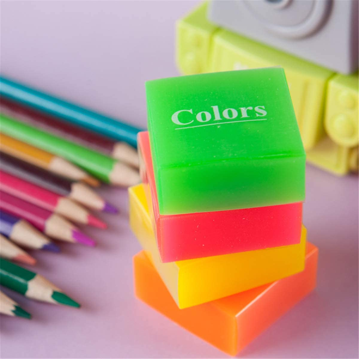 Vxkbiixxcs-o Eraser, 4 Pieces Pure Color Jelly Color Eraser Kids Student Gift Learning Stationery