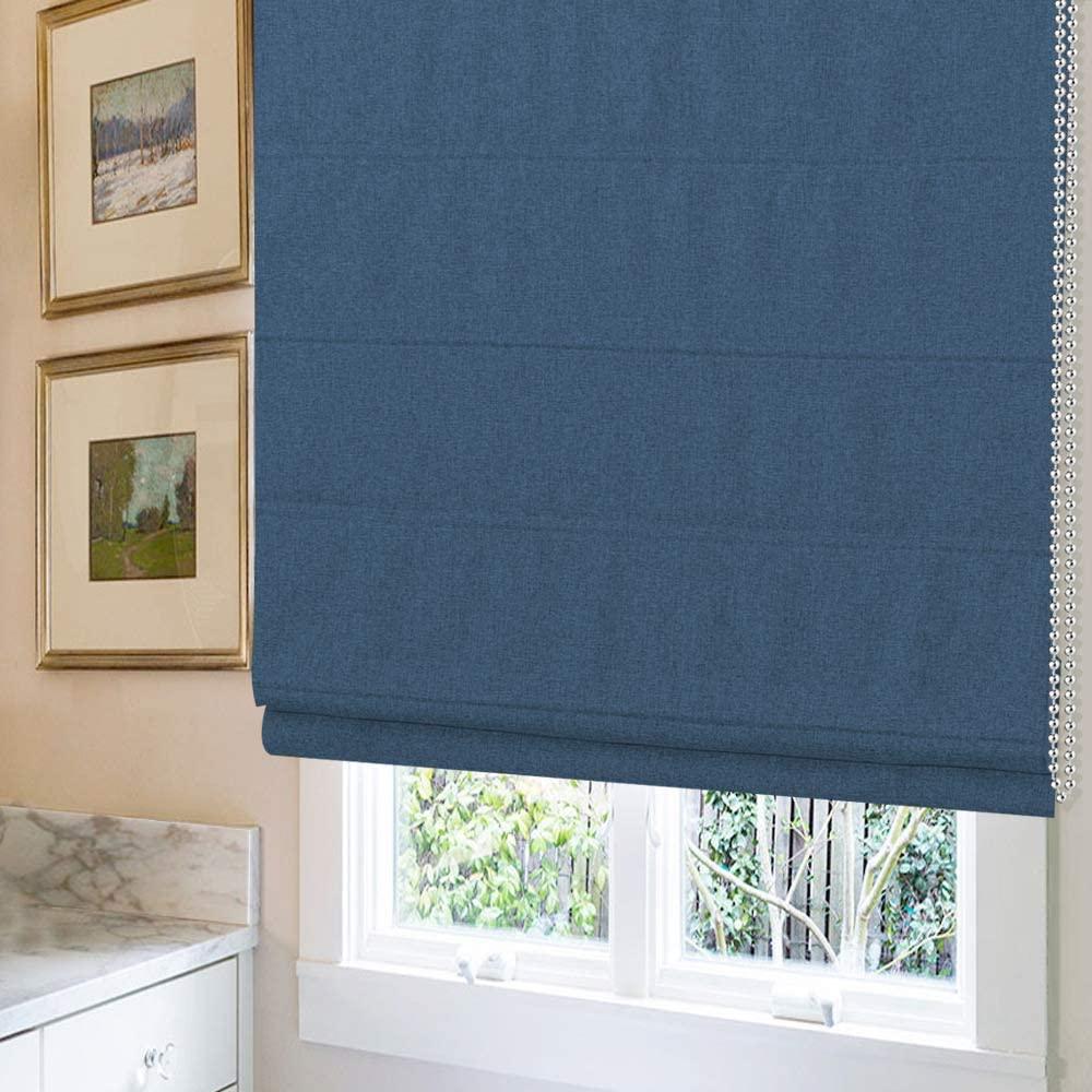Grneric Roman Shades Window Shades, Navy Blue Custom Blackout Light Filtering Window Roman Blinds, Fabric Roman Shades for Windows, French Doors, Doors, Kitchen Windows