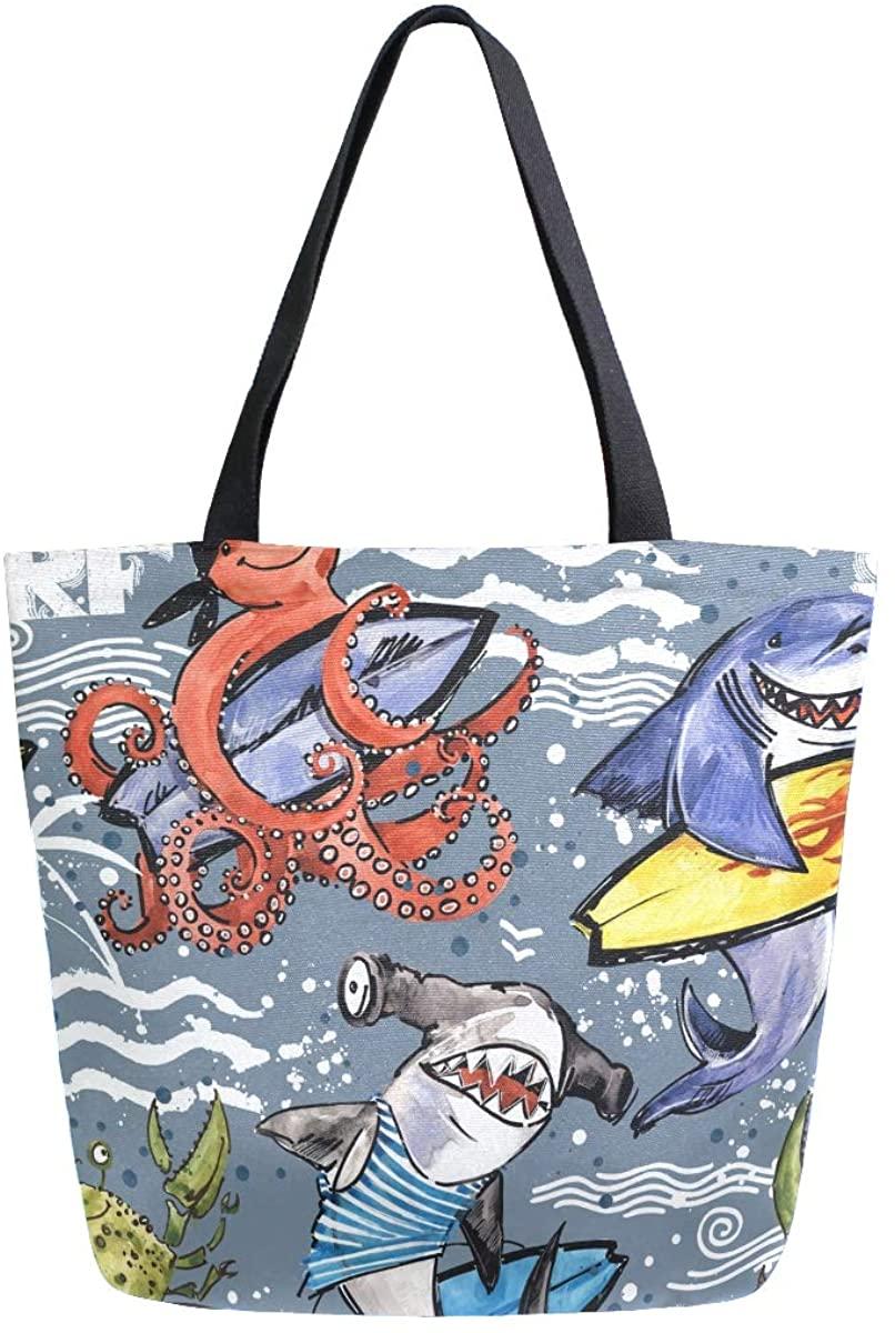 Women's Tote Bag Top Handle Handbags Shoulder Tote Bag Octopus Tote Washed Canvas Purses Bag