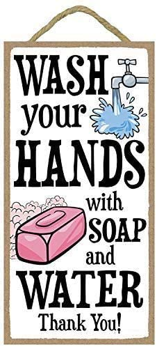 INNAPER Wash Your Hands with Soap and Water Thank You Decorative Wood Sign for Home Bathroom Decor 12x6(BW869)