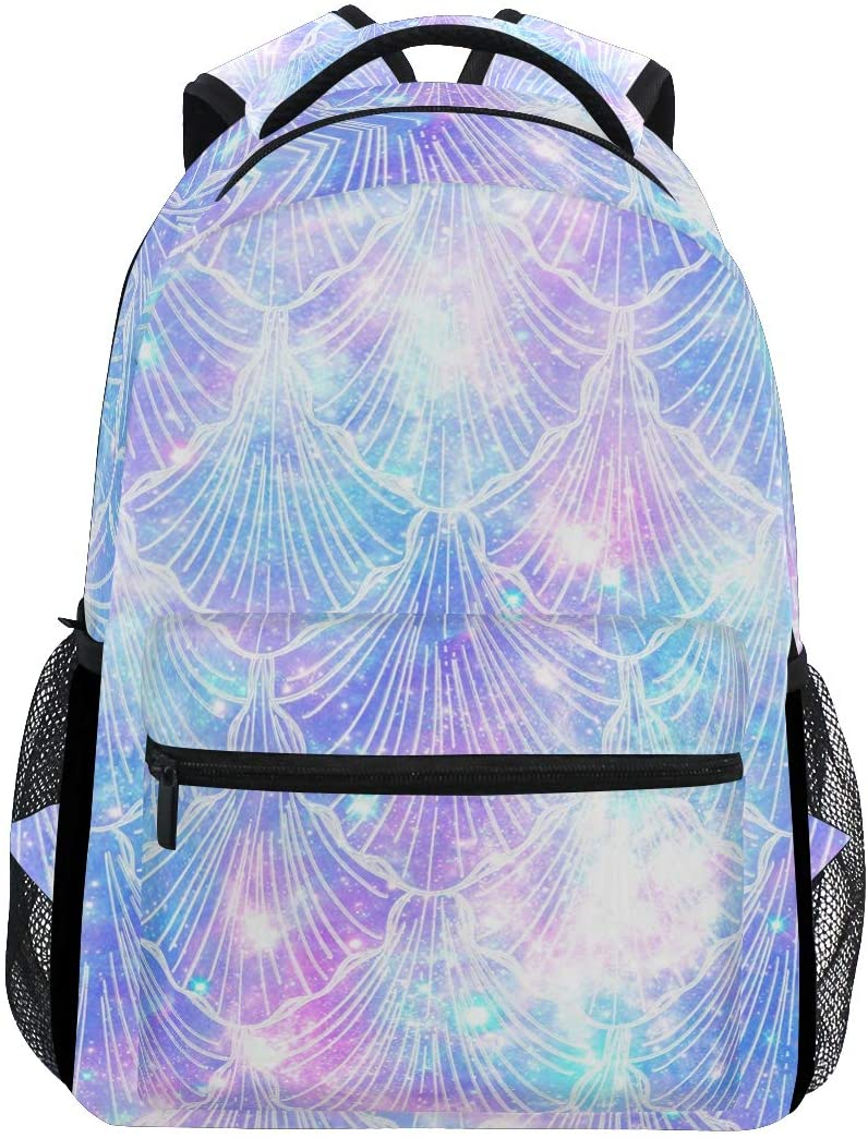 YYZZH Mermaid Scale On Universe Galaxy Print Backpacks Laptop Bookbags School College Bag Travel Hiking Camping Daypack for Women Girls Men Boys