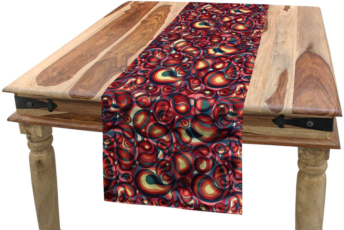 Ambesonne Paisley Table Runner, Modern Paisley Pattern with Spirit in a Funky Inspired Graphic Design Print, Dining Room Kitchen Rectangular Runner, 16