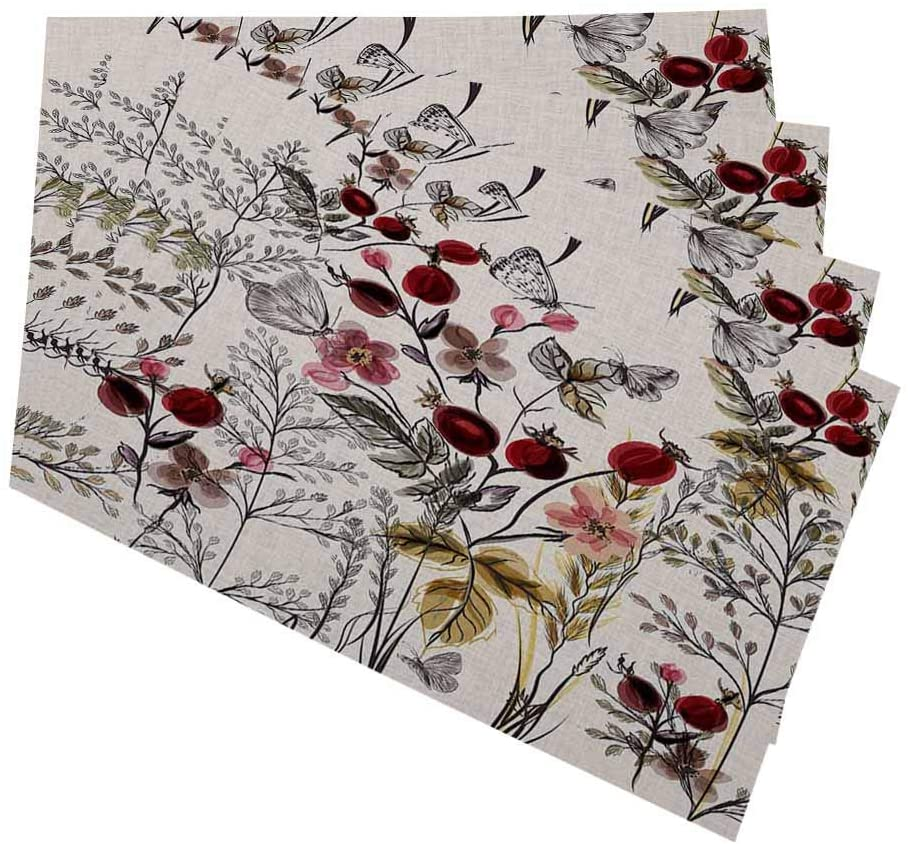 oFloral Floral and Plants Placemats for Kitchen Dining Table Set of 4 Butterfly on Beautiful Flower Linen Washable Heat Resistant Place Mats