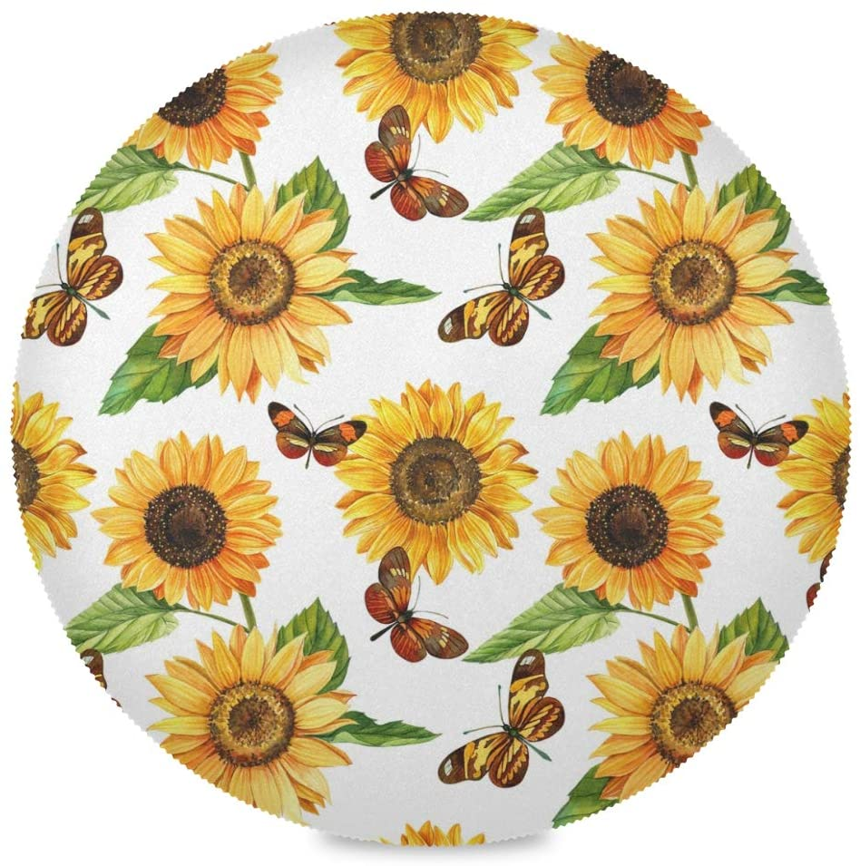 Moudou Sunflower Butterfly Round Placemats Non-Slip Washable Heat Resistant Table Mats for Kitchen Dining 15.4 Inch Set of 4