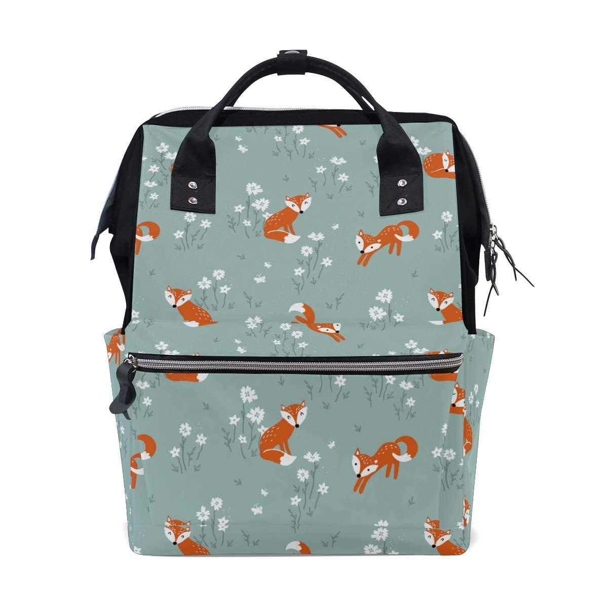 MERRYSUGAR Diaper Bag Baby Bag Backpack Fox Floral Flower Cartoon School Backpack Mommy Bag Large Multifunction Travel Bag