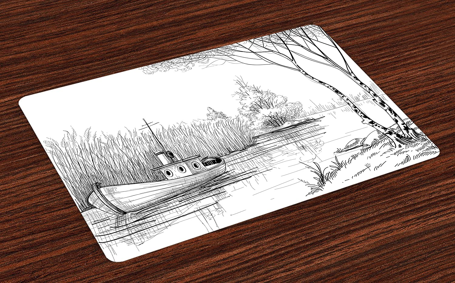 Ambesonne Nature Place Mats Set of 4, Boat on The River by The Water Reeds Fishing Lake Plants Hand Drawn Style Nature, Washable Fabric Placemats for Dining Room Kitchen Table Decor, Black White