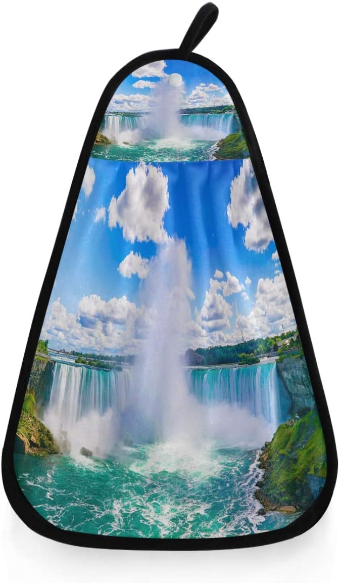Kaariok Niagara Falls Waterfall View Hanging Hand Towel Kitchen Absorbent Dish Loop Cleaning Towel for Bathroom Decor