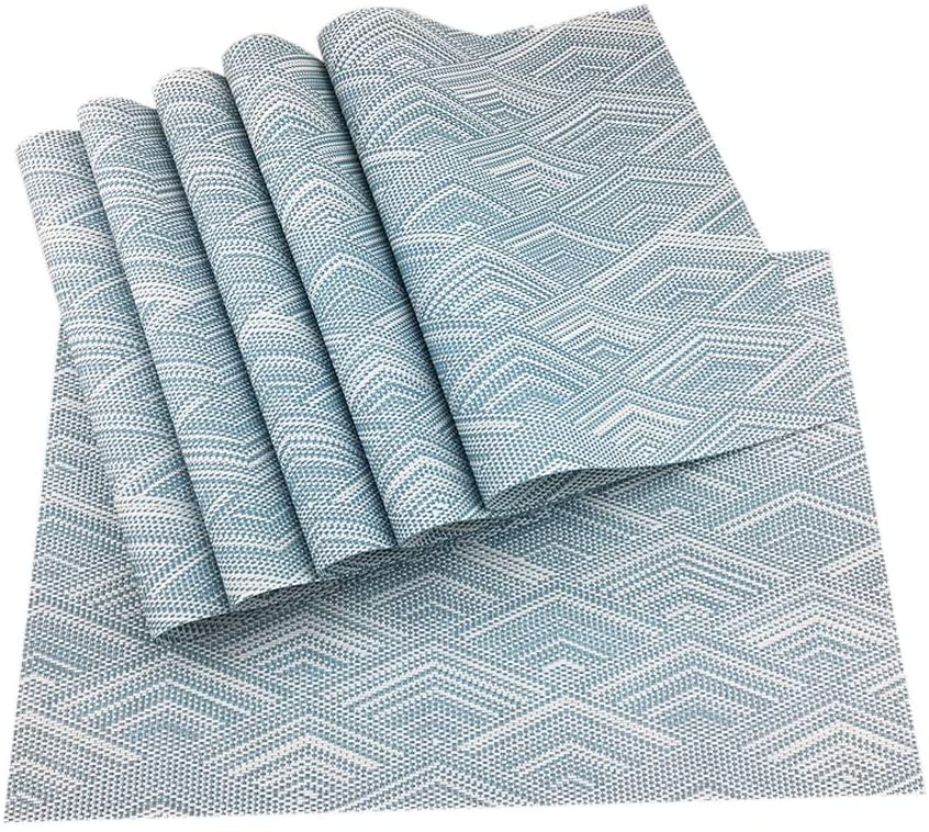Gugrida Luxury Placemats Woven Vinyl Non-Slip Insulation Heat Stain Resistant Washable Table Placemats Kitchen Dining Table Top Meal Mat Place Mats PVC Set of 6, Shape of Blue Diamond