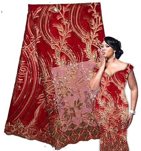 Royal Blue African Lace Fabric Sequins French Tulle Lace Fabric Latest Arrival Hot Sale 5 Yards for Dress (red)