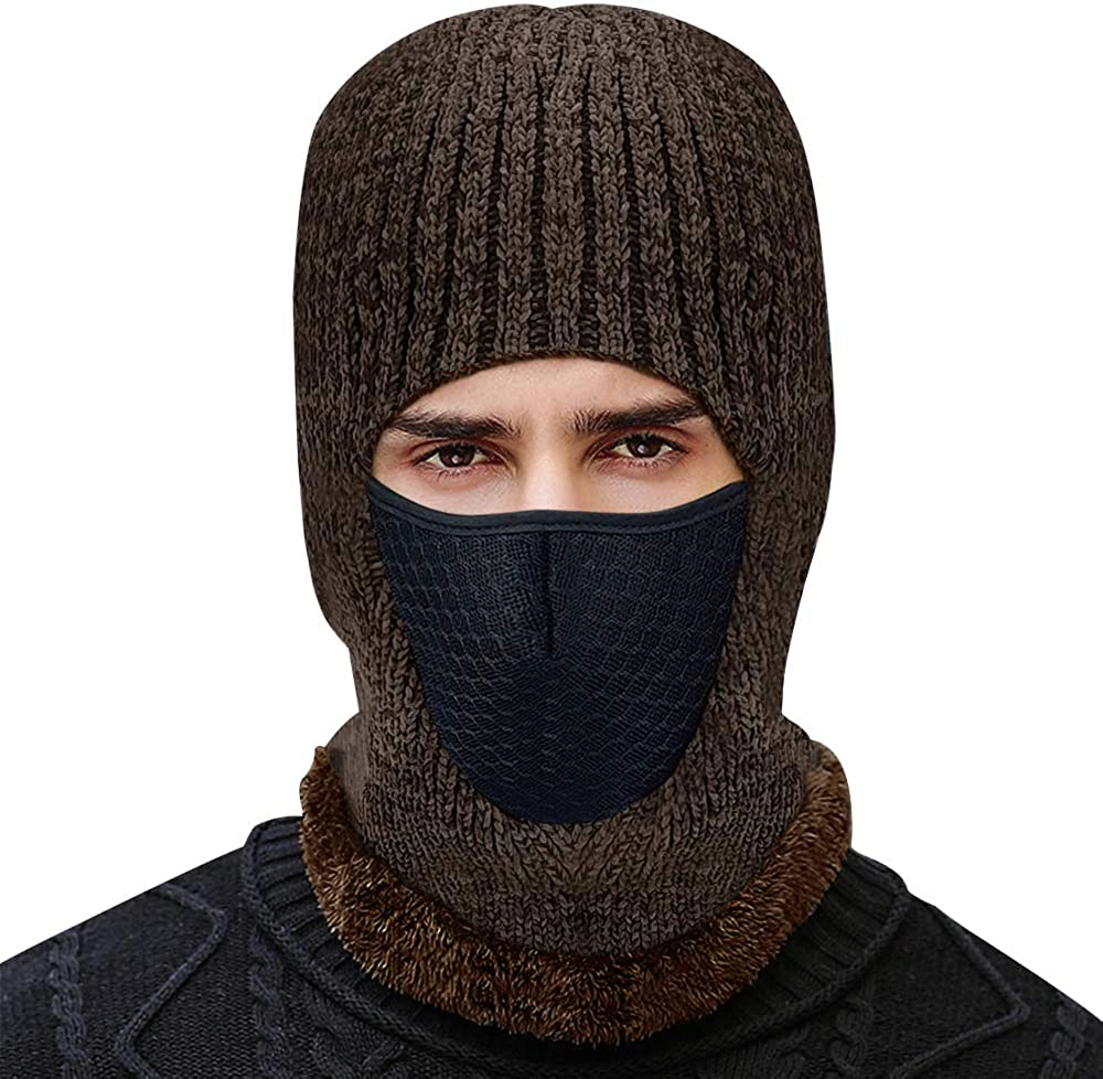 Winter Knitted Balaclava Beanie Hat Warm Cycling Ski Mask,Adult Winter Balaclava Warm Knit Full Face Mask for Outdoor Sports