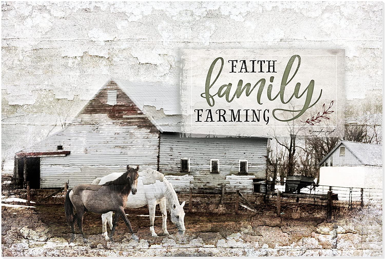 Faith Family Farming Rustic Wood Wall Sign 12x18