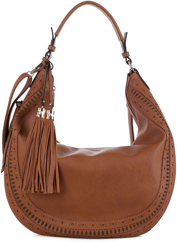 SG SUGU Fashion Double Tassel Large Hobo Shoulder Handbag Purse for Women