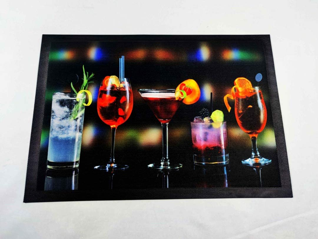 Larsic Bar Mat Spill Mat – Decorative Cocktail Mixing Pad for Restaurant and Coffee Bar – Cushioning, Heat Resistant Tamping Mat Protects Against Spills and Glass Breakage (21.5x14.9