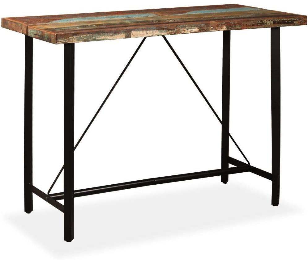 vidaXL Bar Table Sturdy Durable Industrial Polished Kitchen Restaurant Dining Bistro Pub Table 59