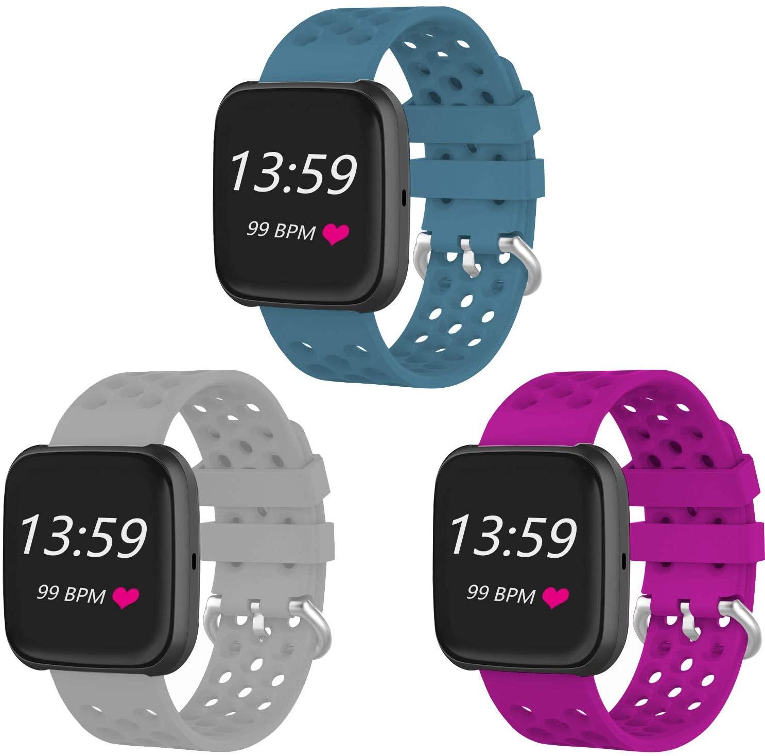 VINIKI 3Pcs Sport Bands Compatible with Fitbit Versa/Versa 2/Versa Lite/SE Special Edition Adjustable Sport Wristbands (Slate,Grey,Rose/Small Size)