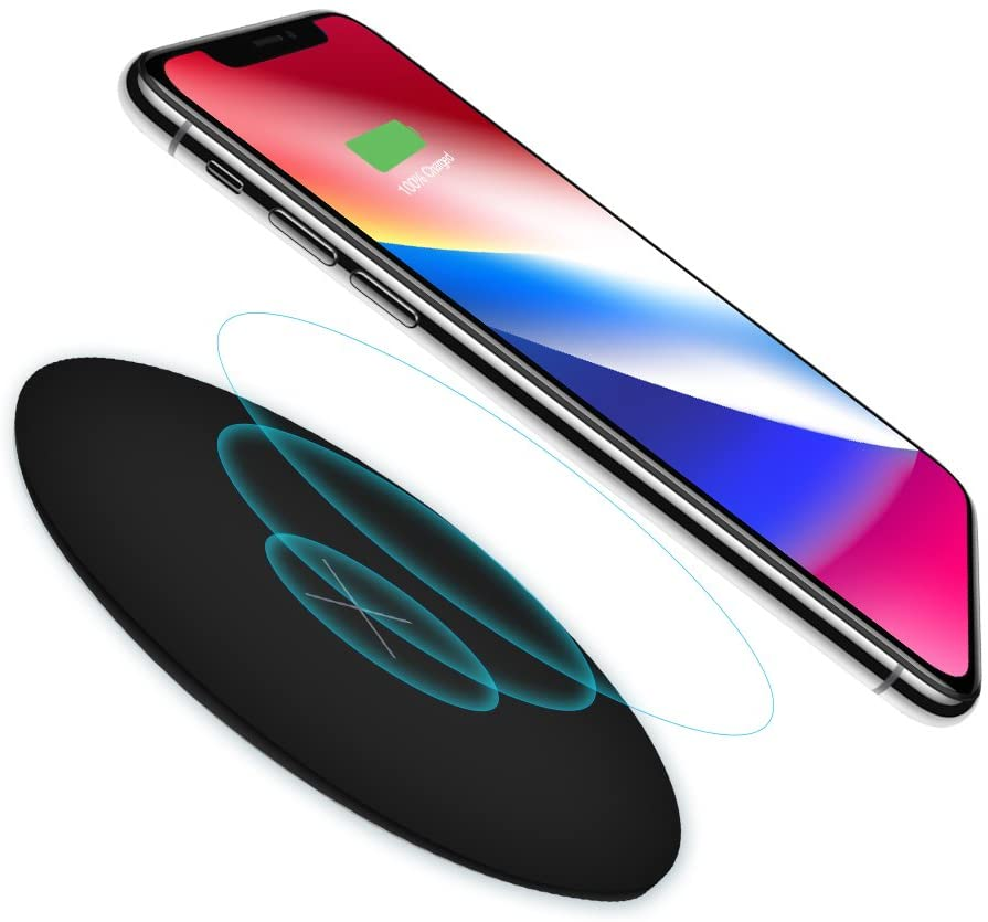 Fast Wireless Charger, MOMAX QC3.0 10W Qi Wireless Charging Pad for iPhone 8/8 Plus,iPhone X, Galaxy Note 5, S7/S7 Edge/S6/S6 Edge/S6 Edge Plus, Nexus 4/5/6/7 and All Qi-Enabled Devices (Black)