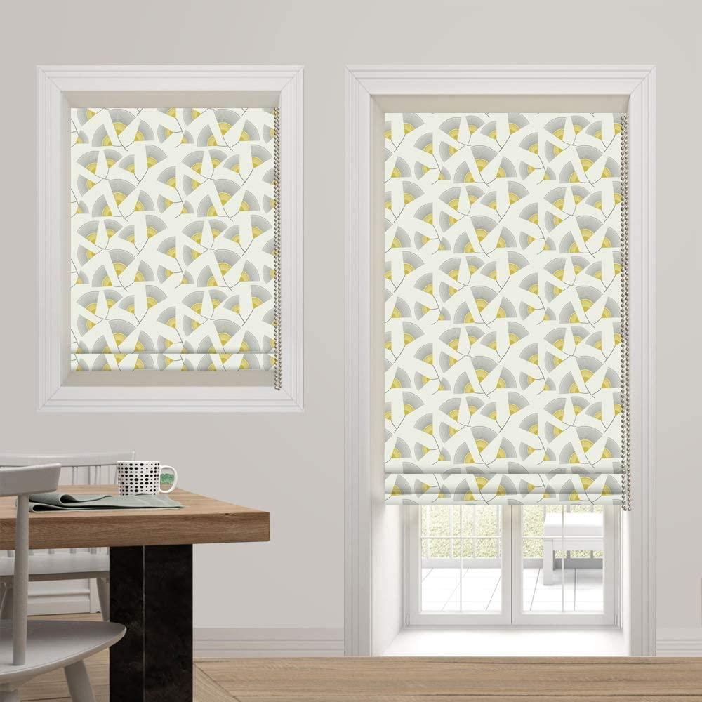 Artdix Roman Shades Blackout Window Shades - Yellow Fabric Light Filtering Custom Roman Shades Blinds for Windows, Doors, French Doors, Kitchen Windows (1 Piece)