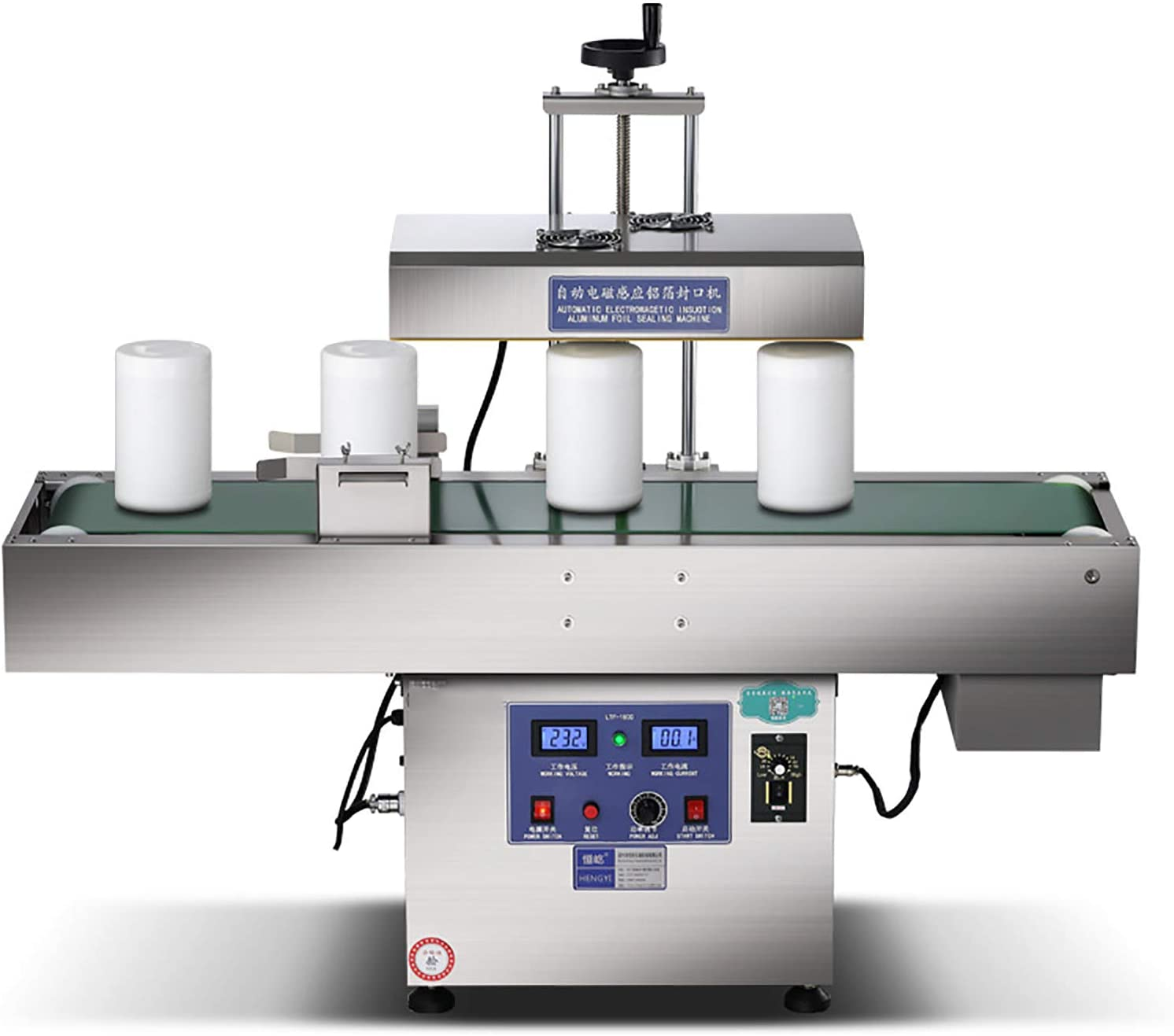 NEWTRY 15-80mm(0.6''-3.15'') Continuous Electromagnetic Induction Bottle Cap Sealer Stainless Steel Automatic Heat Jar Sealing Machine for Plastic and Glass Bottles (Bottle mouth diameter:15-80mm(0.6''-3.15''))