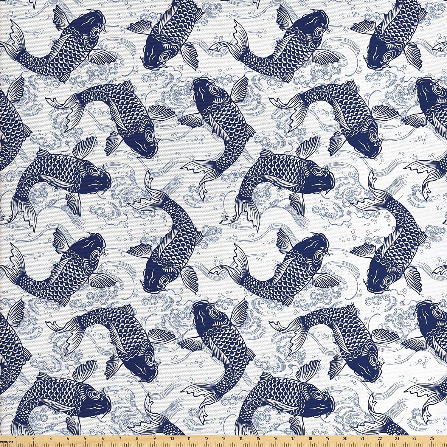 Ambesonne Fish Fabric by The Yard, Japanese Carp Koi with Wave Patterned Background Ancestral Animals Culture, Decorative Fabric for Upholstery and Home Accents, 3 Yards, Blue White