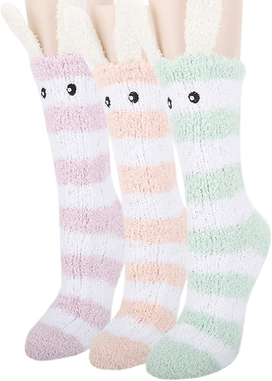 Womens Girls Funny Novelty Fuzzy Socks Cartoon Animal Colorful Fluffy Plush Home Sleeping Slipper Socks