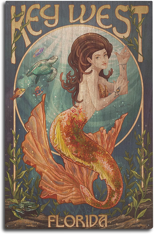Lantern Press Key West, Florida - Mermaid (10x15 Wood Wall Sign, Wall Decor Ready to Hang)