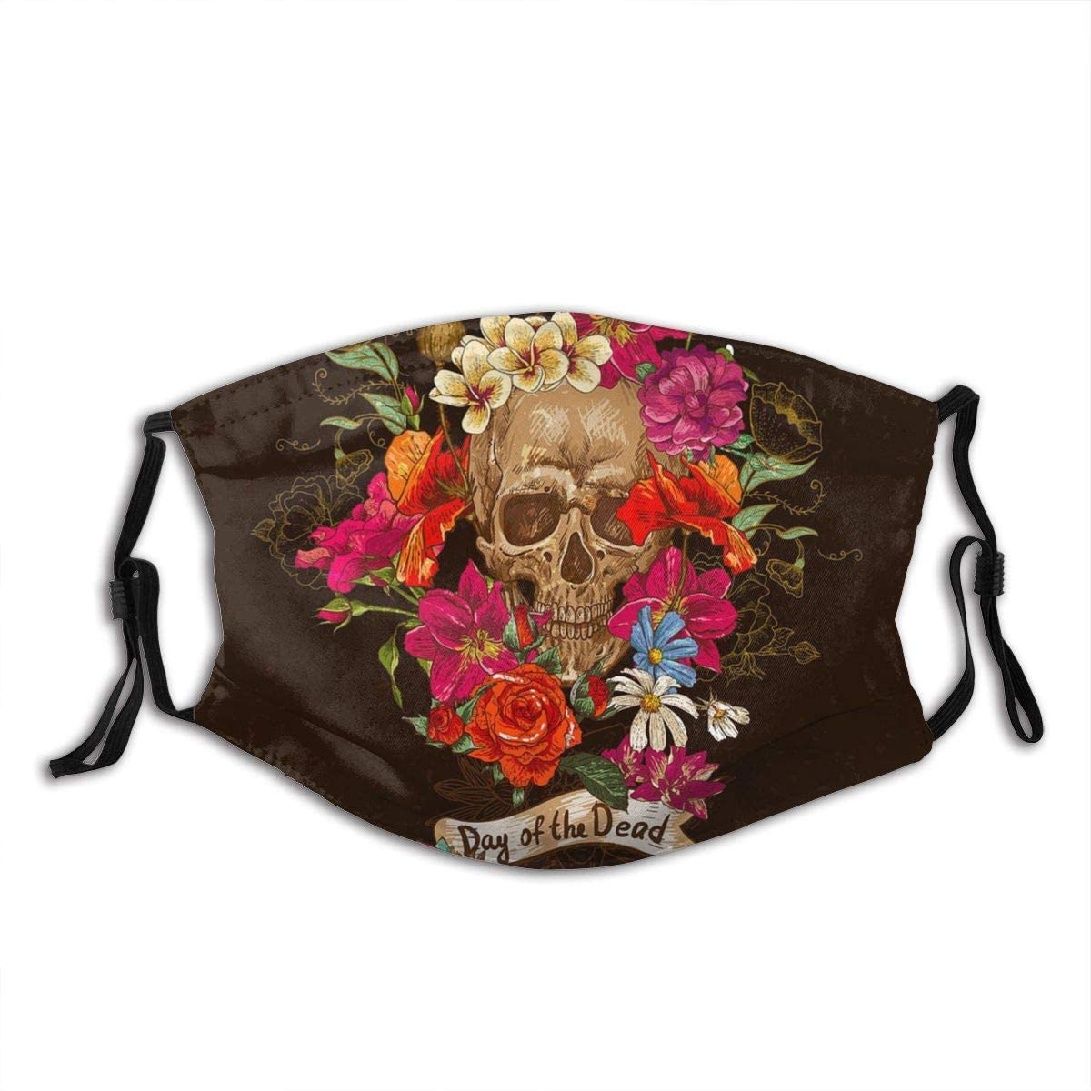 Skull And Flowers Face Mask Reusable Adjustable Balaclava Bandana Cloth With 2 Filters For Men And Women