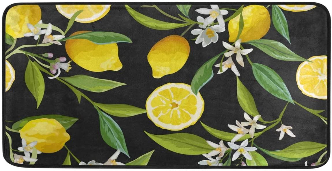 HAIIO Flower Leaves Lemon Fruit Pattern Long Floor Mat Doormat Non-Slip Washable Kitchen Living Room Bedroom Indoor Outdoor Bath Rugs